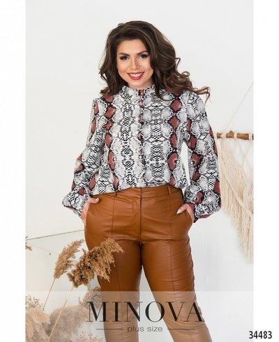Блуза с орнаментом с длинным рукавом на манжете №710