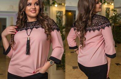 Блуза декорированная вставкой из гипюра батал № 1060 Розовая
