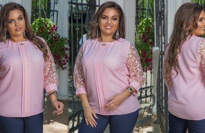 Блуза с кружевными рукавами батал № 1109 Розовая