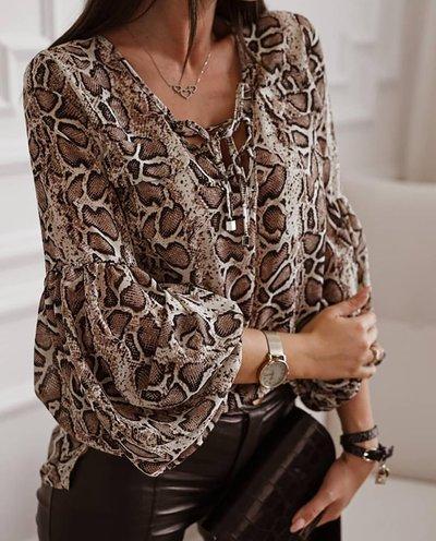 Блуза XL с пышными рукавами №4022 принт змея