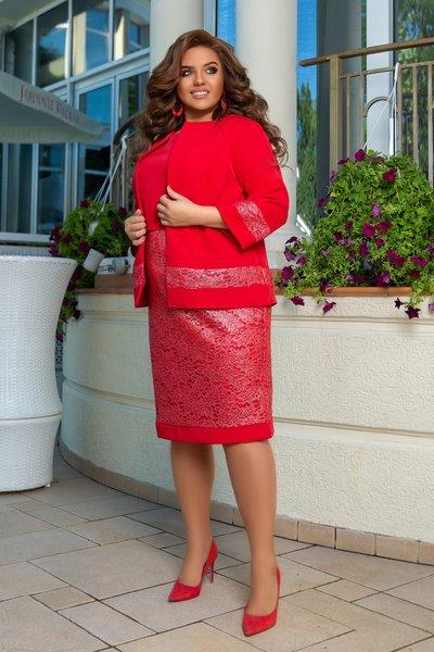 Костюм платье и пиджак с наложением гипюра батал № 1191 Красный
