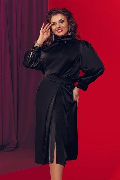 Костюм 2ка (юбка на запах+блуза с воротником стойкой) XL №736 Черный
