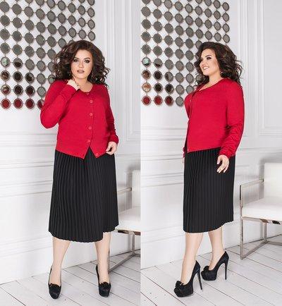 Костюм плиссированная юбка и кофта батал № 839 Красный и черный