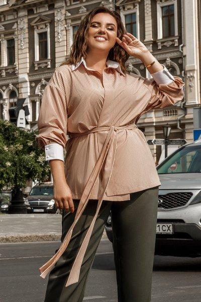Блуза удлиненная на запах с поясом XL № 708 Бежевая