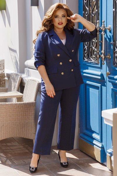 Костюм брюки и пиджак на пуговицах батал № 803 Синий