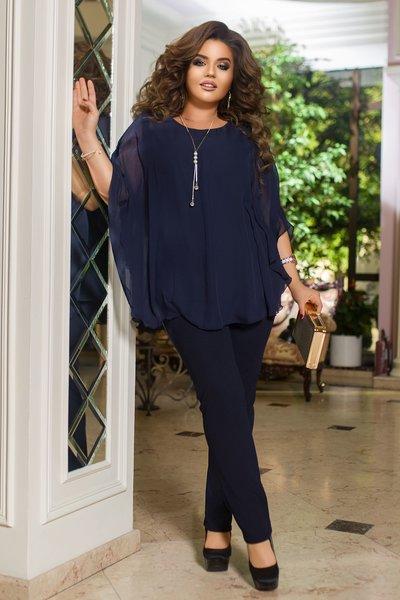 Костюм брюки и шифоновая свободная блуза батал №1247 Синий