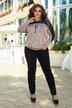 Костюм брюки и блуза с вставками из гипюра Ресничка батал № 1106 Розовый