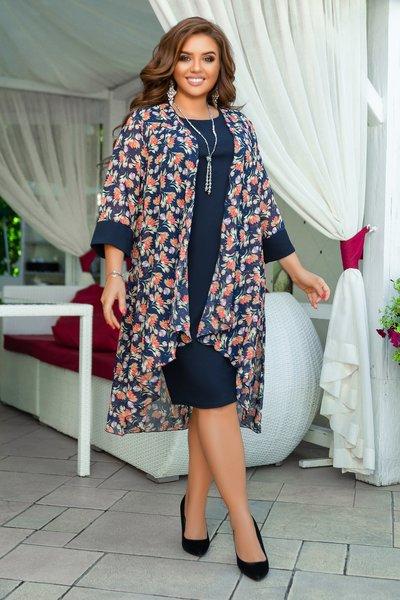 Комплект прямое платье и шифоновая накидка с цветочным принтом батал № 1228 Синий