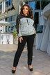 Костюм брюки и блуза с вставками из гипюра Ресничка батал № 1106 Серый