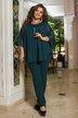 Костюм брюки и шифоновая свободная блуза батал №1247 Зелёный