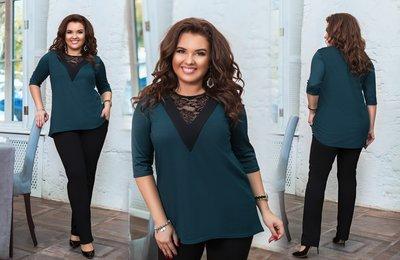 Костюм брюки и блуза с V-образным вырезом батал № 1137 Зелёный