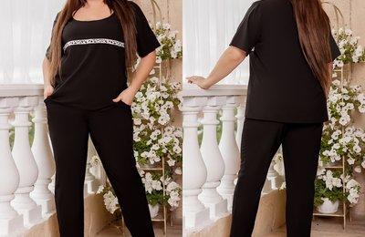 Костюм штаны на резинке и свободная блуза батал № 906 Черный