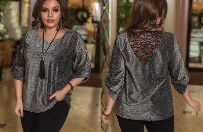 Блуза из люрекса и гипюра батал № 1067 Черная
