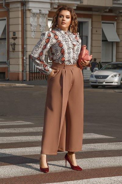 Блуза с принтом под змеиную кожу XL № 710 Серая
