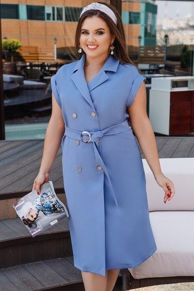 Платье на пуговицах батал № 700 Голубое