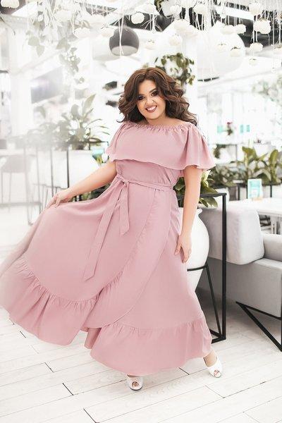 Платье в пол с широким воланом Крестьянка батал № 1092 Пудра