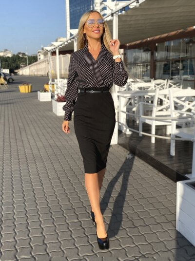 Платье XL имитация блузы и юбки №1002 черное