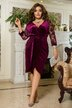 Велюровое платье на запах батал № 1175 Бордовое