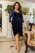 Велюровое платье на запах батал № 1175 Синее