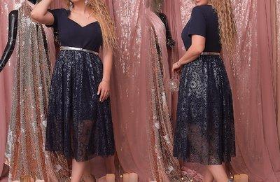Платье с фигурным вырезом и двойной юбкой №807 Тёмно-синий