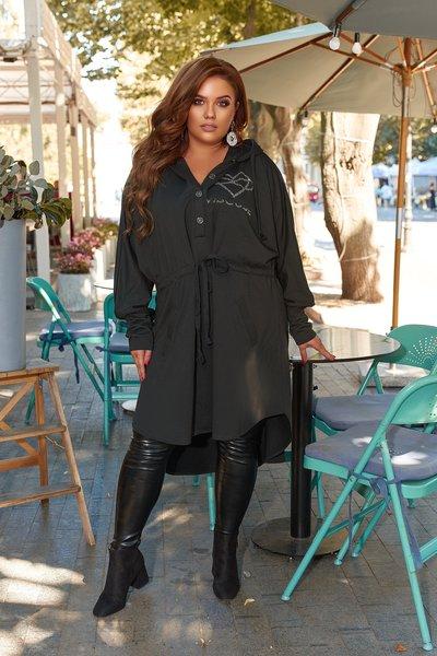 Платье-рубашка с аппликацией из стразов батал № 1099 Черное