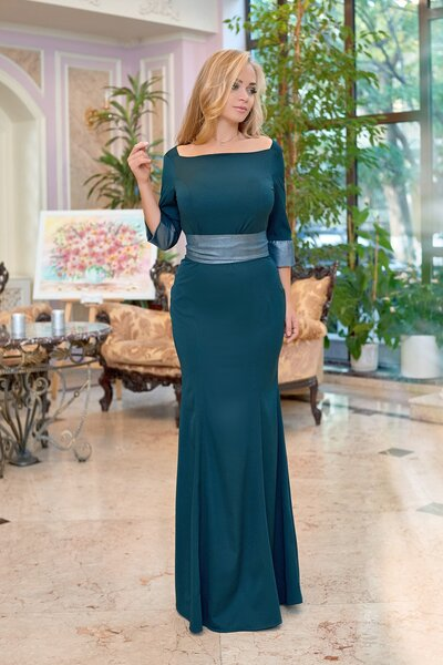 Платье в пол с широким поясом №01300 бутылочное