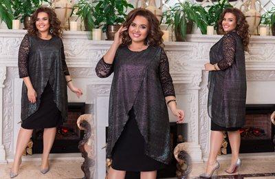 Платье свободного силуэта с блестками батал № 1174 Черное