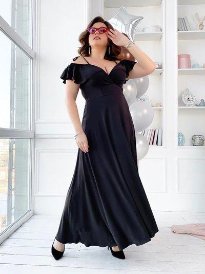 Платье в пол на запах с юбкой клеш батал № 1045 Черное