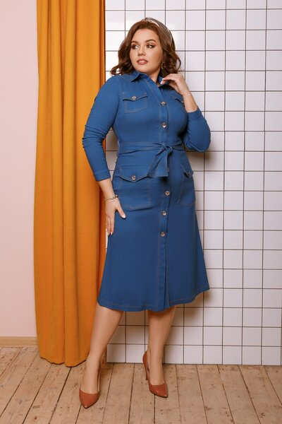 Платье на пуговицах с поясом джинсовое батал № 746 Синее