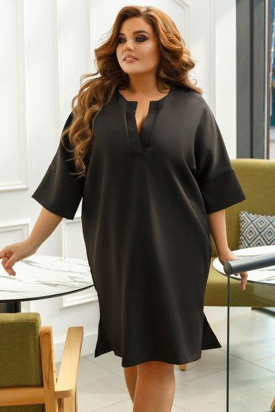 Платье фасона бочонок батал № 599 Черное