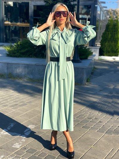 Платье XL с бантами на шее и рукавах №1052 оливковое