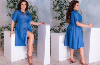 Платье-рубашка из тонкого джинса батал № 883 Голубое
