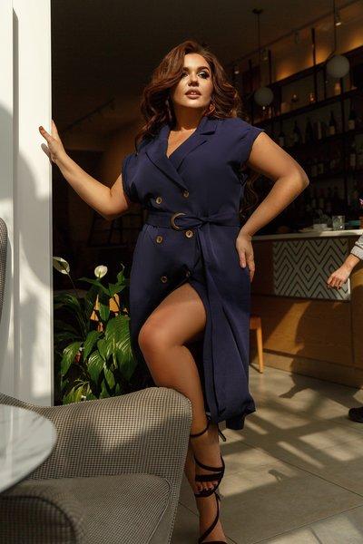Платье на пуговицах с поясом батал № 700 Тёмно-синее