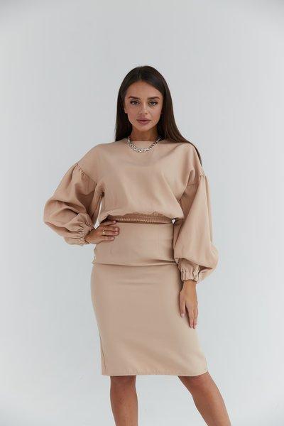 Костюм юбка и блуза с объемными рукавами № 617 Бежевый