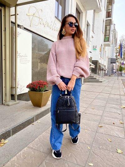 Свитер с объемными рукавами в стиле Zara Розовый