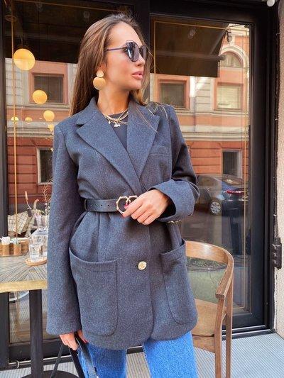 Пиджак шерстяной с большими карманами Крафт Графитовый