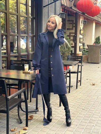 Платье-пальто на пуговках №1022 синее