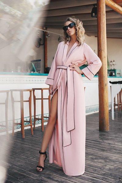 Платье-халат в пол с контрастной окантовкой №105 пудровое