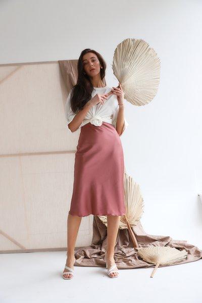 Юбка шелковая миди № 599 Розовая