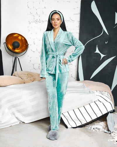 Пижама в комплекте с повязкой велюровая № 633 Бирюзовая