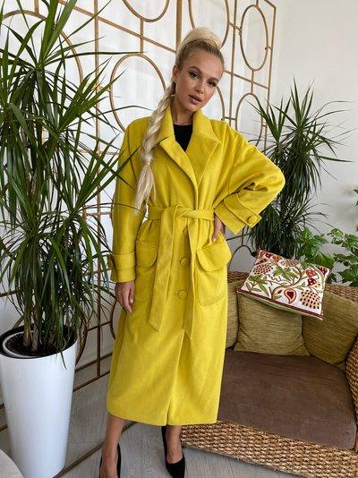 Пальто двубортное кашемировое № 277 Лимонное