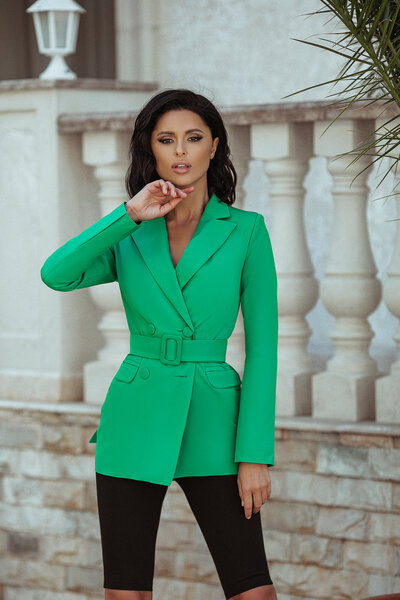 Пиджак с поясом № 295 Зелёный