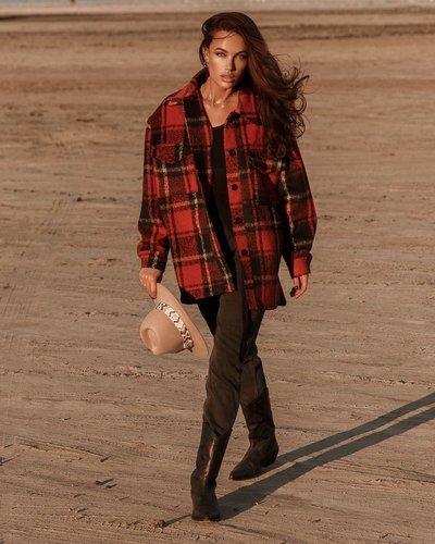 Рубашка-пальто на байке №587 красно-черная