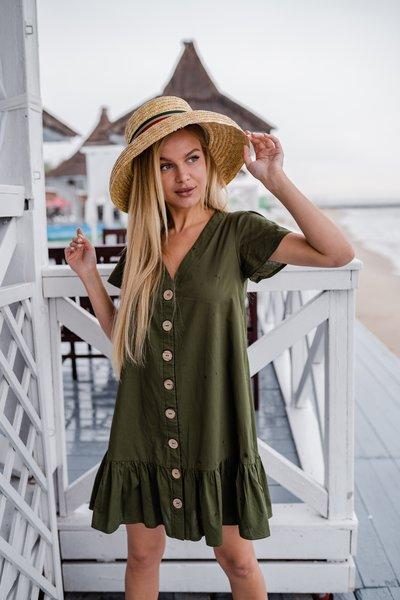 Платье свободного фасона на пуговицах № 585 Хаки