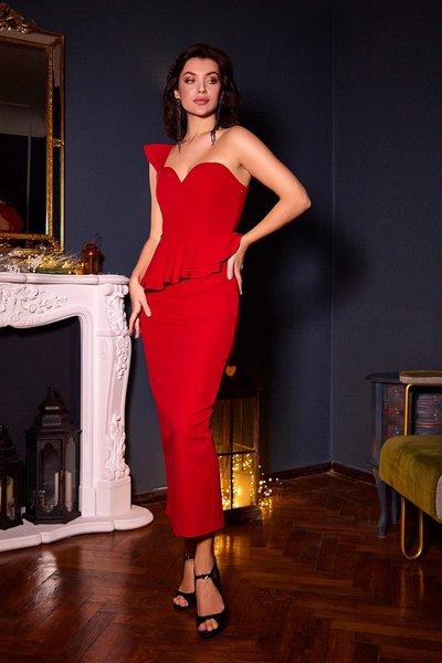 Платье асимметрия с баской №09 Красное
