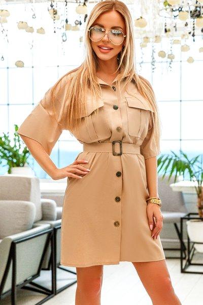 Платье - рубашка с поясом №1101 бежевое