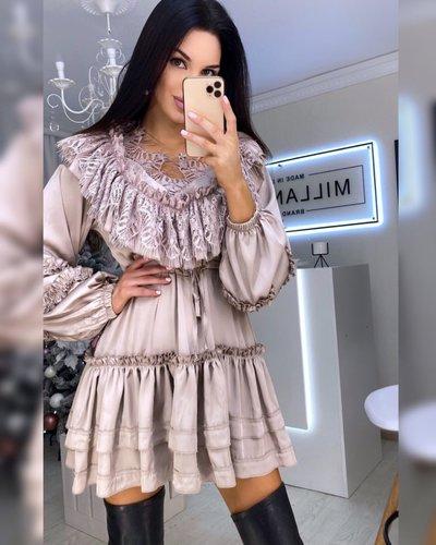 Платье-туника с кружевом и рюшами Бэлла мокко