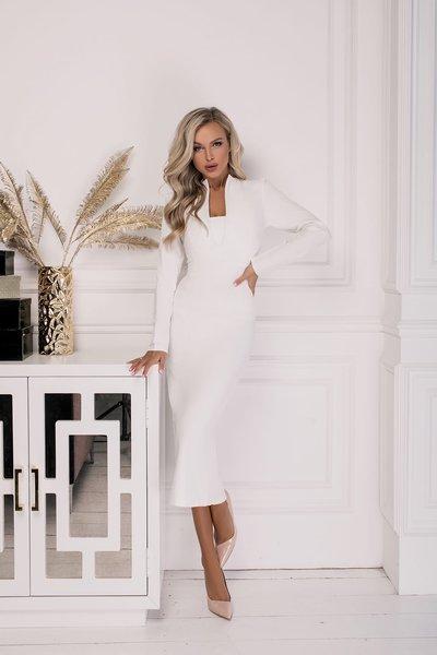 Платье облегающее Вики Зима № 263 Молочное