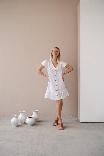Платье-халат с деревянными пуговицами № 585 Белое