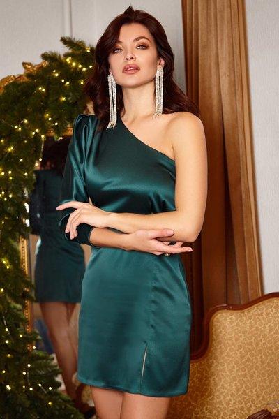 Платье асимметрия мини №269 Изумрудное